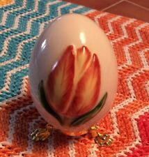 1984 Porcelain Goebel Orange Tulip Flower Collectible Egg with Stand