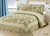 Patchwork Quilted Bedspread Bed Throw Comforter Bedding Set King - GS K019