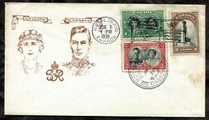 Canada 1939 Cover.ROYAL TRAIN Flag & CDS Postmarks. Portraits Cachet (inv:p0506)