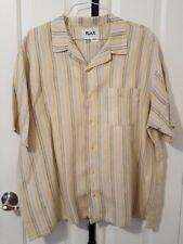 Men's FLAX Linen Shirt Sz L Button Down Yellow Green Cream Striped