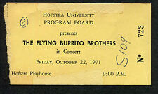 1971 Flying Burrito Brothers concert ticket stub Hofstra U. Gilded Palace of Sin