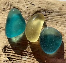 TRIO OF FLAWLESS TO NEAR FLAWLESS STUNNING PARTIAL SEAGLASS BOTTOMS!