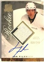 2008-09 Upper Deck The Cup Autograph Patch Rookie Card Jon Filewich RC /249