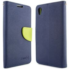 Navy / Neon Green Phone Cover for Sony Xperia Z5 Card Case Holder Folio Pouch
