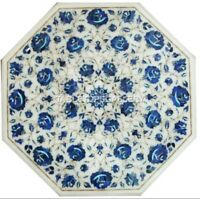2' Marble Coffee Table Top Lapis Lazuli Floral Stones Inlay Kitchen Decors W045