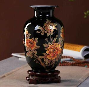 Jingdezhen Black Ceramic Vase Porcelain Chinese Handmade Antique Reproduction #1