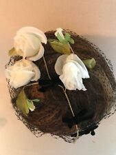 Womens Net Fascinator With Roses Hat