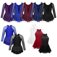 Girls Figure Roller Ice Skating Dance Dress Ballet Long Sleeve Leotard Dancewear