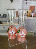 Pair Gay Fad Glass Bud Vases Frosted Hand Painted Gold  Pink Floral Vintage MCM