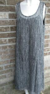 Eileen Fisher Sleeveless Sheer Dress Black/White W/Spaghetti Strap Slip Lining M