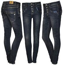 Lexxury Pailletten Boyfriend Damen Jeans Herbst Baggy dunkelblau 36 38 40 42 44