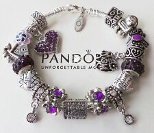 Authentic PANDORA Silver Bracelet with European Charms Beads LOVE Mom
