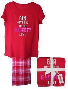 Gin Design Short Sleeve Pyjama Set Soft 100% Jersey Cotton Size 6-22