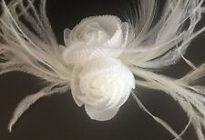 White Double Rose Goose & Ostrich Feather Fascinator - 8cm x 22cm