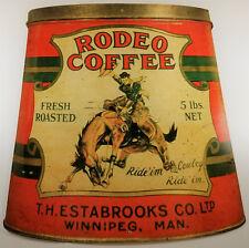 RODEO COFFEE RIDE 'EM COWBOY BUCKING BRONCO 5 LB CAN HEAVY DUTY METAL ADV SIGN