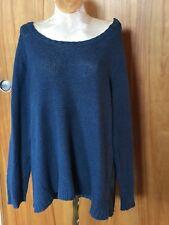Eileen Fisher women 1X....blue boxy sweater..med knit...Linen/cotton..Gre