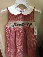 Adorable b.t. kids Red Smocked Dress with Strawberries/Ladybugs, Size 6X - Nwt