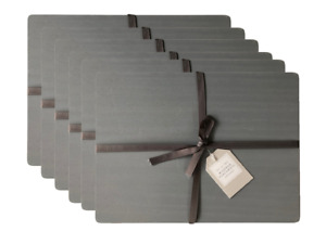 Set of 6 Grey Solid Wood Placemats Wooden Dining Table Place Mats
