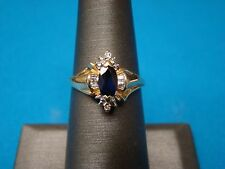 Marquise Sapphire  and Diamond Ring 10kt Yellow Gold  Sz 6.5  6 1/2