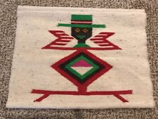 Vintage Wool Hand Woven Weaving Textile Wall Rug Art Figural Black Man with Hat