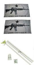 3x5 White Come & Take It Guns 2ply Flag White Pole Kit Set 3'x5'