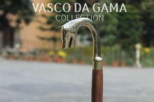 Vintage Brass Exclusive Silver Wolf Handle Handmade Wooden Cane Walking Stick.