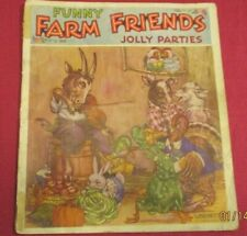 1938 Vintage Funny Farm Friends Jolly Parties Linenette Book Sam Gabriel & Sons