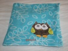 Blankets and & Beyond BABY BLANKET Owl Corner Blue Leaf Soft Security Lovey