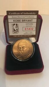 Kobe Bryant Bronze Mint-Coin #1432 of 25K Highland Mint w/COA & Box.