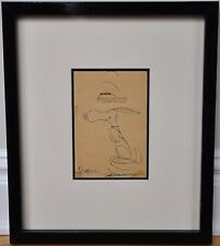 FRAMED SIGNED ORIGINAL DRAWING OF SNOOPY DANCING~CHARLES SCHULZ~W. COA/LOA