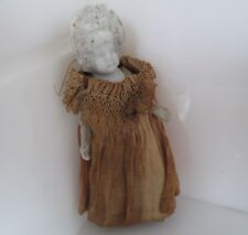 "Vintage Bisque Jointed Arms Frozen Charlotte  3.75 "" Dressed Doll"