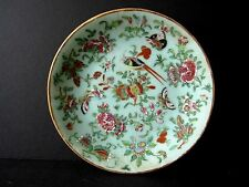 "9"" Antique Chinese Celadon Famille Rose Plate Signed 19th Century Bird Butterfly"