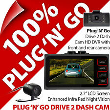 Pama Plug N Unidad 2 Dash Cámara Cam Go Doble HD DVR Grabadora de Video IR Delantero Trasero