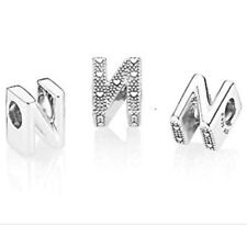 Authentic Pandora Sterling Silver Letter N Bead 797476