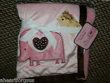 "BABY BLANKET ELEPHANT PINK GIRL JUNGLE ANIMAL SHERPA WARM 30X40"" HEART SOFT NEW"