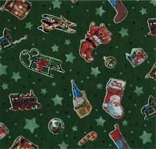 Green Red Christmas Sled Stocking Bear Star Santa Quilt Fabric Candy Cane Train