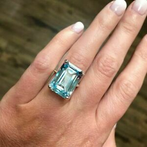 4.00 Ct Emerald Cut Aquamarine Solitaire Engagement Ring 14K White Gold Over