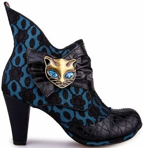 Irregular Choice Miaow Black Blue Womens Ankle Boots