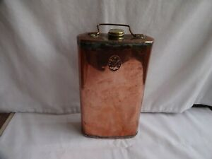 Antique Copper Hot Water Bottle Bed Warming Pan Brass Screw Top Monogramed CBC