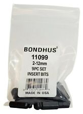 """2mm - 12mm 9pc Set Hex BallDriver® Insert Bits 1/4"""" Hex Drive Bondhus USA #11099"""