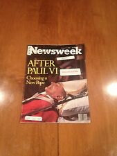 Newsweek Magazine After Paul VI Choosing a New Pope August 21, 1978