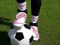 PERSONALISED FOOTBALL SHIN PAD SUPPORTS / HOLDERS / TIES / STAYS ~3 INCH ELASTIC