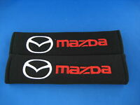 2 x Embroidered Seat Belt Shoulder Cover Pads for Mazda 2 Mazda3 Mazda6 MX5 MX6