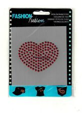 Iron-On Rhinestuds Applique Red HEART Sewing Fabric  Embellishment