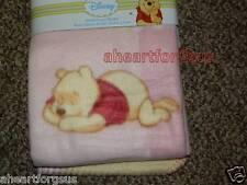 BLANKET DISNEY WINNIE POOH SLEEPING PINK SOFT BABY FLEECE GIRL WARM NEW SWADDLE