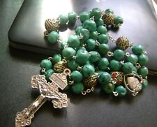 Real Turquoise & Beautiful Beadsl Rosary Sterling 925 Silver Cross Gift Box