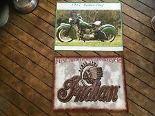 2 x vinyl POSTERS man cave flags mancaveidea garage Indian motorcycles motorbike