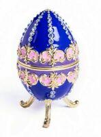 Caja de baratija de huevo Faberge hecha a mano por cristales austriacos de...