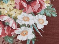 Roses on Chocolate Barkcloth Faille Vintage Fabric DIY Projects 1930s Home