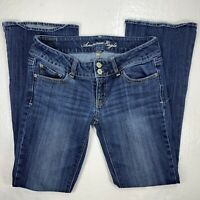 American Eagle Womens Low Rise Artist Flare Stretch Blue Jeans Size 2 Short